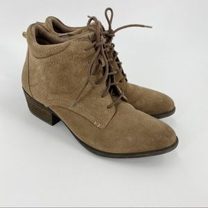 Earth suede lace up ankle boots tan